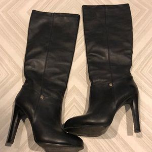 """Tory Burch Black Leather Tall Boots w 4+"""" Heel"""